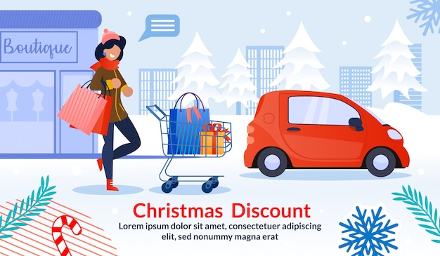 Christmas discount for woman advertising