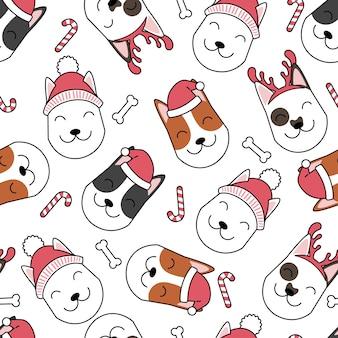 クリスマスの犬のパターン
