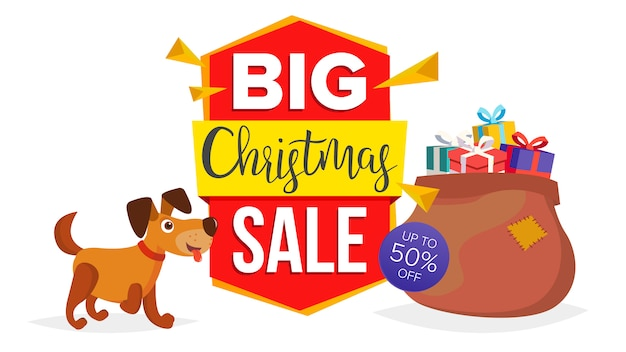 Christmas dog sale banner template