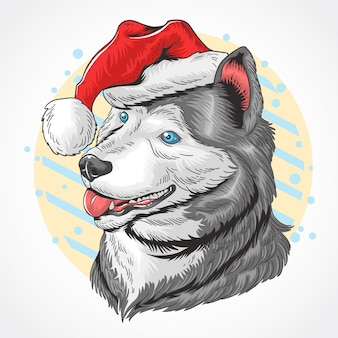 CHRISTMAS DOG SANTA CLAUS HUSKEY