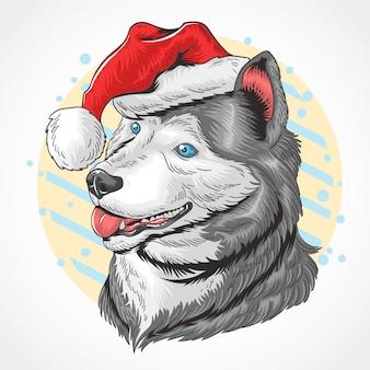 Рождественская собака santa claus huskey
