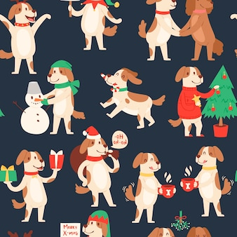 Christmas dog seamless pattern.