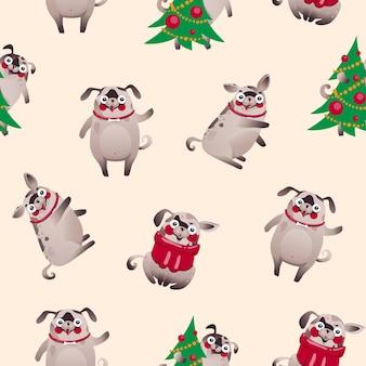 Рождественские собаки обои, милые персонажи собак, вектор eps 10