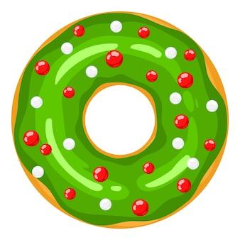 크리스마스 도넛 녹색 도넛은 달콤한 축제 풍선으로 장식되어 있습니다. 만화 과자