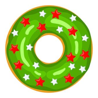 크리스마스 도넛 녹색 도넛은 달콤한 축제 별과 풍선으로 장식되어 있습니다. 만화 과자