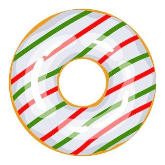 크리스마스 도넛 녹색 흰색 빨간색 도넛은 달콤한 축제 별과 풍선 과자로 장식되어 있습니다.