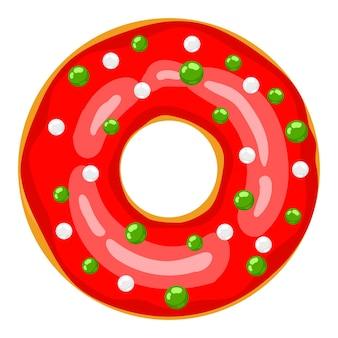 크리스마스 도넛 빨간 도넛은 달콤한 축제 풍선으로 장식되어 있습니다. 만화 크리스마스 과자