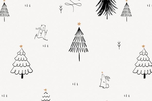Christmas doodle background, cute polar bear animal pattern in black vector