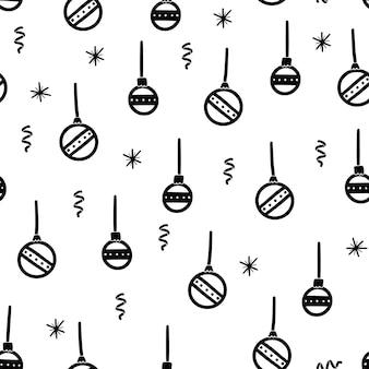 Рождественский бал каракули бесшовные модели. ручной обращается стиль зимний рождественский узор. векторная иллюстрация.
