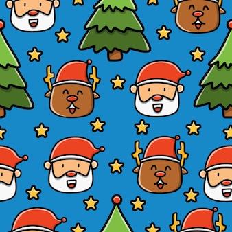 크리스마스 낙서 만화 완벽 한 패턴 디자인