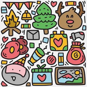 Рождественский каракули мультфильм шаблон