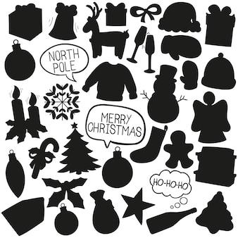 クリスマスの落書きクリップアートのベクトルのシルエット