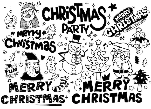 Christmas doodle collection, hand drawn new year elements for isolated