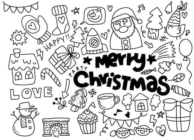 Christmas doodle collection, hand drawn new year elements