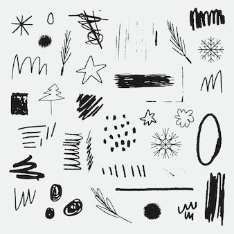 Insieme di elementi di doodle di natale