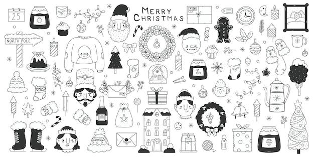 크리스마스 낙서 요소입니다. 겨울 방학 손으로 그린 산타, 눈송이, 선물 및 눈사람 벡터 그림 세트. 귀여운 크리스마스 낙서 기호