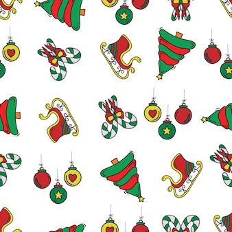 クリスマスの落書きパターンの背景