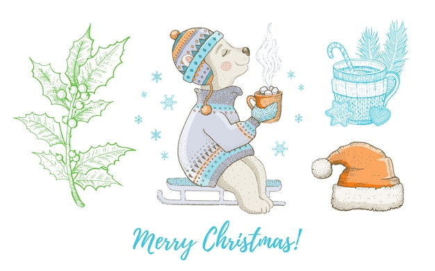 Christmas doodle polar bear animal, santa hat, holly set. cute watercolor hand drawing collection. poster, greeting card, design element.