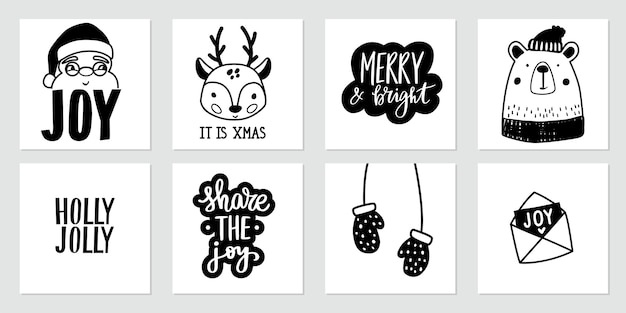 Christmas doodle posters with santa claus, baby deer, cute bear, mittens and lettering quotes