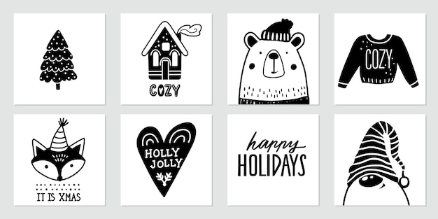 Christmas doodle posters with santa claus, gnome, cute bear, fox, christmas tree, cozy home, ugly sweater and lettering quotes. happy new year and xmas collection in sketch style.