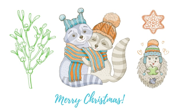 Christmas doodle raccoon animal, mistletoe branch set. cute watercolor hand drawing collection for poster, greeting card, design element.