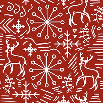 Christmas doodle seamless pattern red and white colors