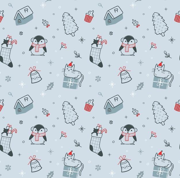 Christmas doodle seamless