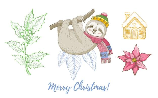 クリスマス落書きナマケモノ動物、ヤドリギ、ジンジャーブレッドセット。かわいい水彩手描きのコレクション。