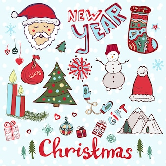 クリスマスイラストベクトルセット。新年のかわいいスケッチ。
