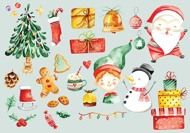 Рождественский каракули акварель стиль