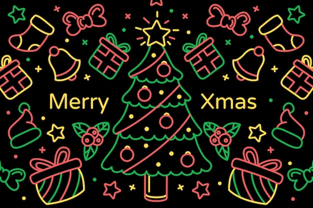 Christmas doodles background in outline style