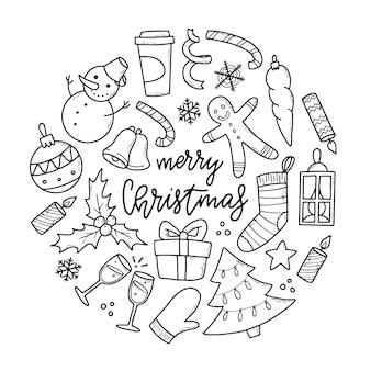 Christmas doodles clipart for prints cards et