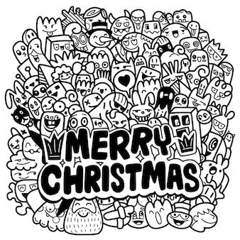 クリスマスの落書き。手描きのクリスマスイラスト