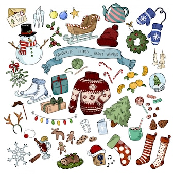 Christmas doodles sticker objects