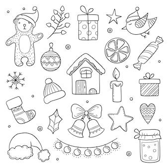 クリスマスの落書き。冬の季節のクリスマスのキャラクター動物かわいいギフト木の服雪片ベクトル描画画像。クリスマススノーフレークの描画と漫画のクリスマス要素の図