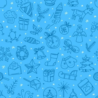 Christmas doodling seamless  background