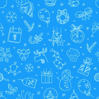 Christmas doodling seamless vector pattern
