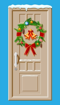 Christmas door decoration isolated on blue