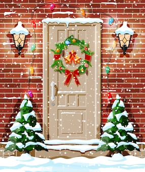 Christmas door decoration with trees and snow