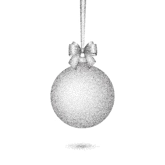 Christmas dotted bauble with bow.