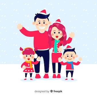 크리스마스 가족 배경 차려