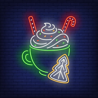 Christmas drink in neon style