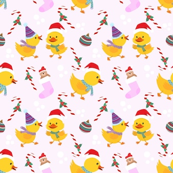 Christmas duckling seamless  pattern.