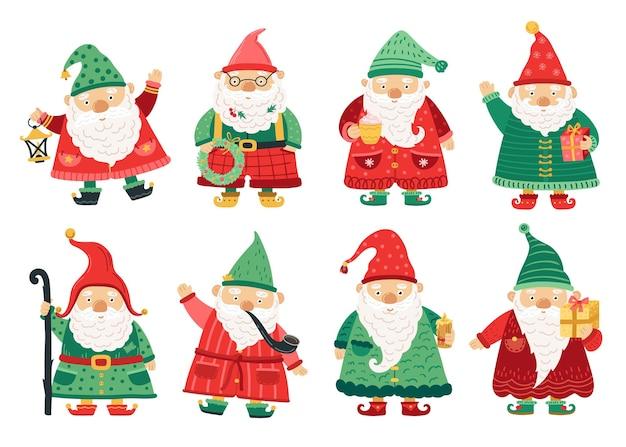 Рождественские гномы. милый сказочный гном, старики с бородой приветствуют рождество. домашний сад волшебные персонажи, набор векторных фантазии зимних каникул. рождественский праздник персонаж, зимний гном, рождественский эльф набора