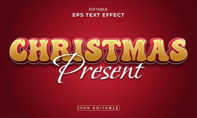 크리스마스 편집 가능한 3d 텍스트 효과 프리미엄 벡터