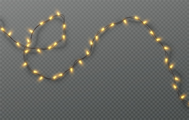 Christmas electric garland of light bulbs  on a transparent background.  illustration
