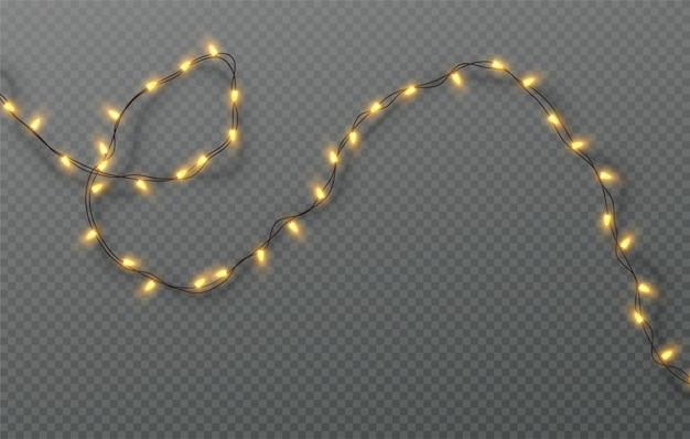 Рождественская электрическая гирлянда из лампочек на прозрачном фоне. иллюстрация