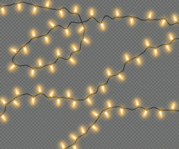 透明な背景に分離された黄色の電球のクリスマス電気花輪