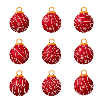 Christmas elegant balls with lines and snowflakes collection