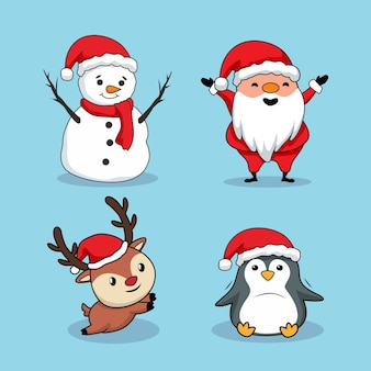 Рождественский элемент мультфильм снеговик санта-клаус олень пингвин